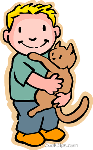 296x480 Little Boy With Cat Royalty Free Vector Clip Art Illustration
