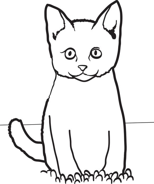 584x700 Cat Sitting In Grass Free Printable Coloring Page For Kids 14023