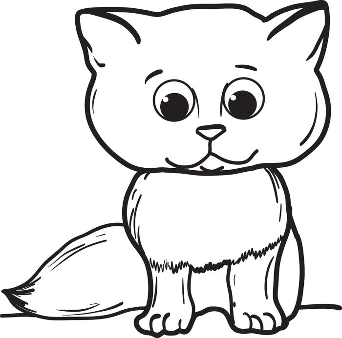 700x693 Free, Printable Cartoon Cat Coloring Page For Kids