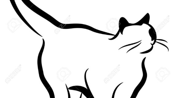 570x320 Cat Drawing Black And White Cute Black And White Cat Clipart Cat