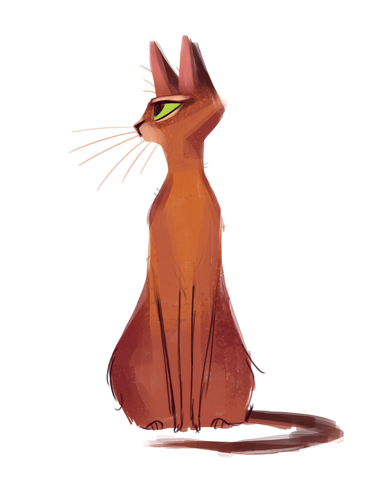 800x1000 Daily Cat Drawings 398 Abyssinian Cartoon Style