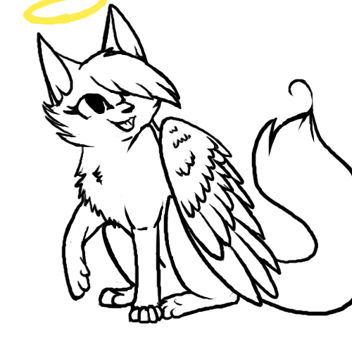 500x500 Angel Cat Lineart D By Soulcats