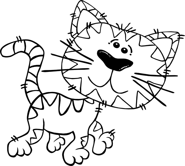600x536 Cartoon Cat Walking Outline Clip Art