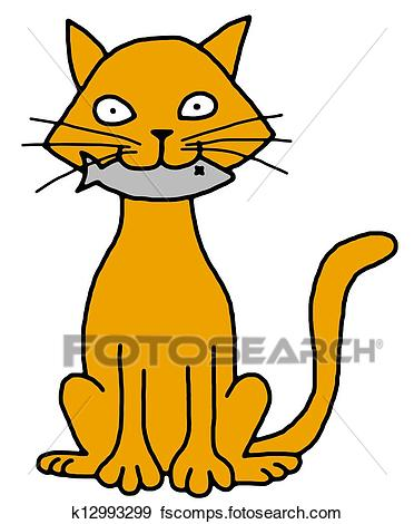 372x470 Clip Art Of A Cat Holding A Fish On The Beach. U11477422