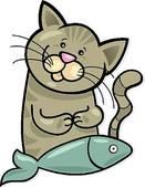 131x170 Cat And Fish Clip Art