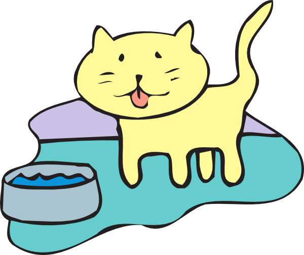 600x504 Cat And Water Bowl Clip Art
