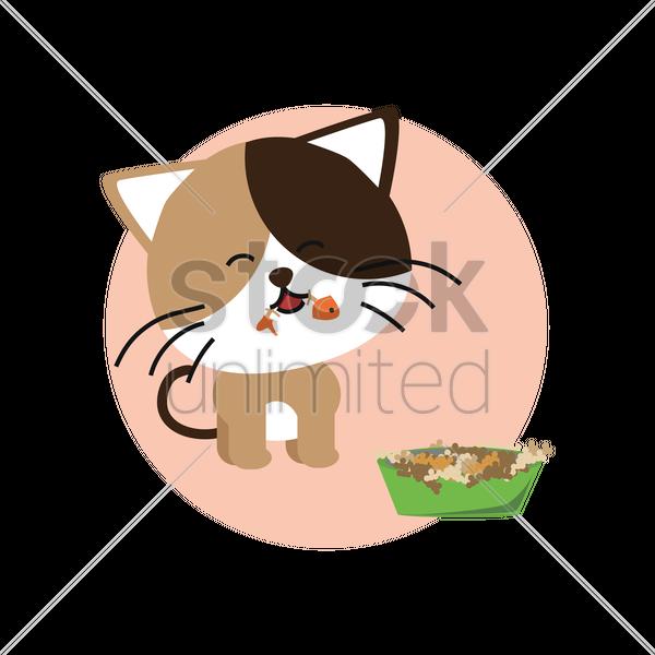 600x600 Cat Eating Fish Vector Image