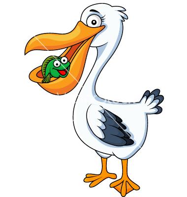 380x400 Pelican Cartoon Eating Fish Vector 1220541