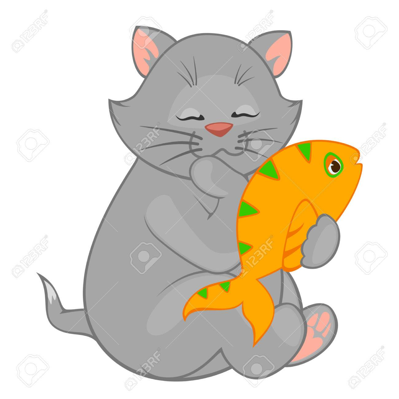 1300x1300 Vector Cartoon Little Kitten With Fish Royalty Free Cliparts