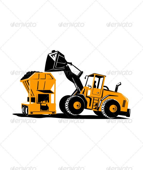 590x700 Front End Loader Digger Excavator Retro Retro, Font Logo And Fonts