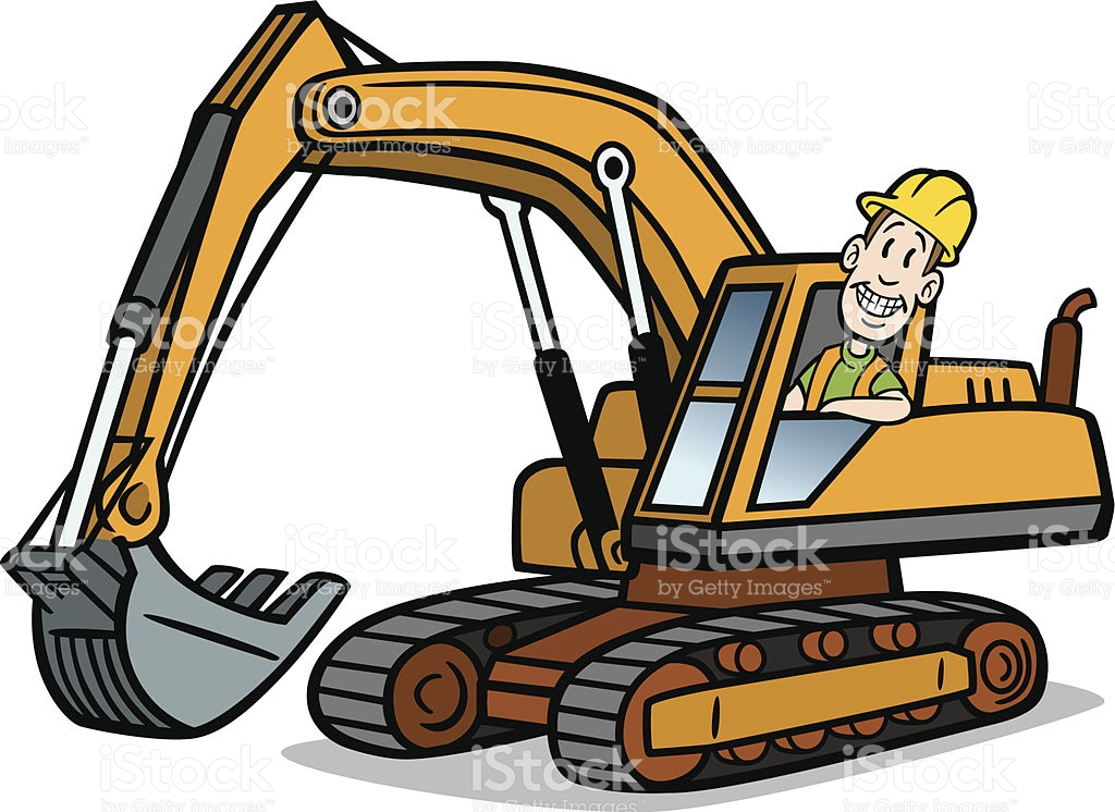 1024x746 Great Illustration Of A Cartoon Guy Operating An Excavator. Perfect