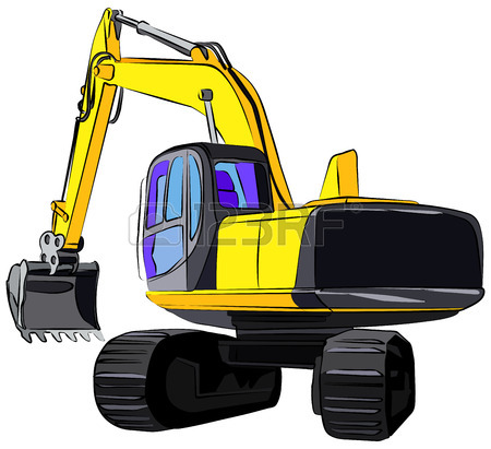 450x411 Tracked Excavator Vector Illustration Isolated On White Background