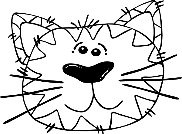 600x443 Cartoon Cat Face Outline Clip Art
