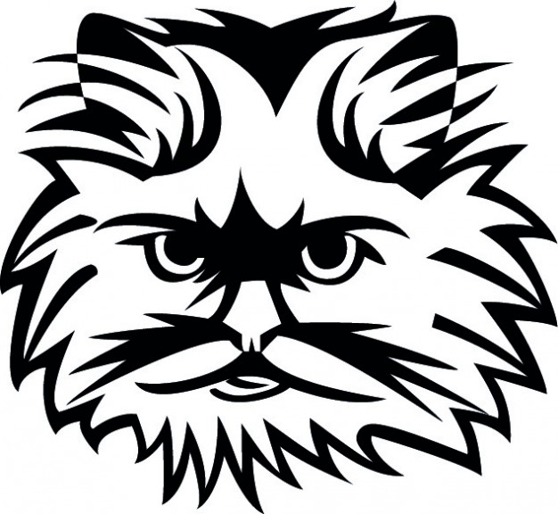 626x576 Cat Face In Black And White Vector Free Download