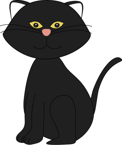 400x476 Cute Black And White Halloween Cat Clipart