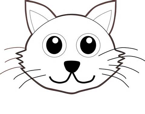 480x378 Kitten Face Clipart Black And White