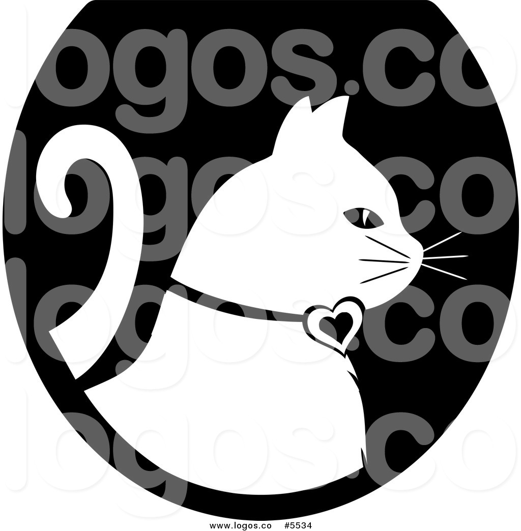 1024x1044 Royalty Free Vector Of A Logo Of A White Cat Profiled Over A Black