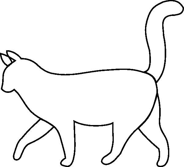 600x545 White Cat Outline Clip Art