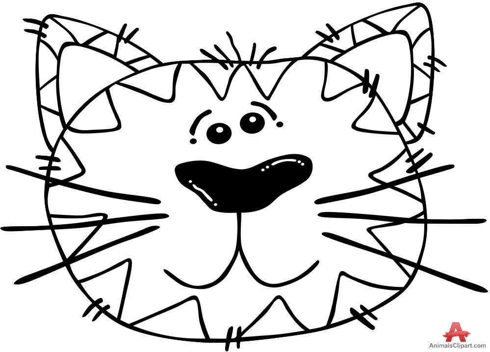 999x719 Cat Face Clipart Black And White