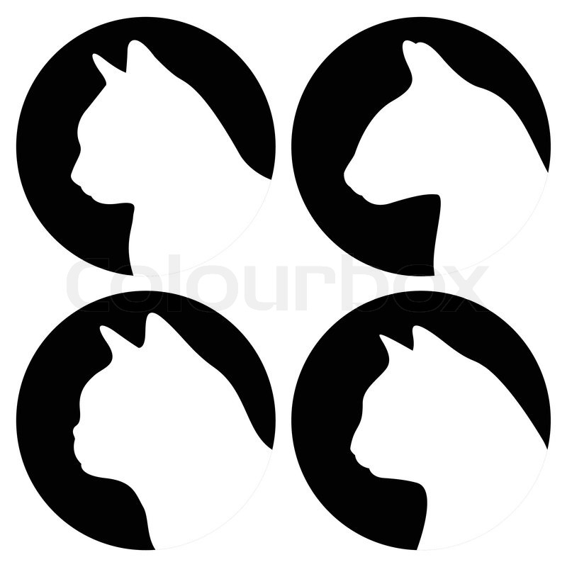 800x800 Heads Of Cats, Other Breeds Stock Vector Colourbox