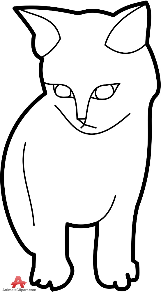 553x999 Outline Cat Clipart In Black And White Free Clipart Design Download