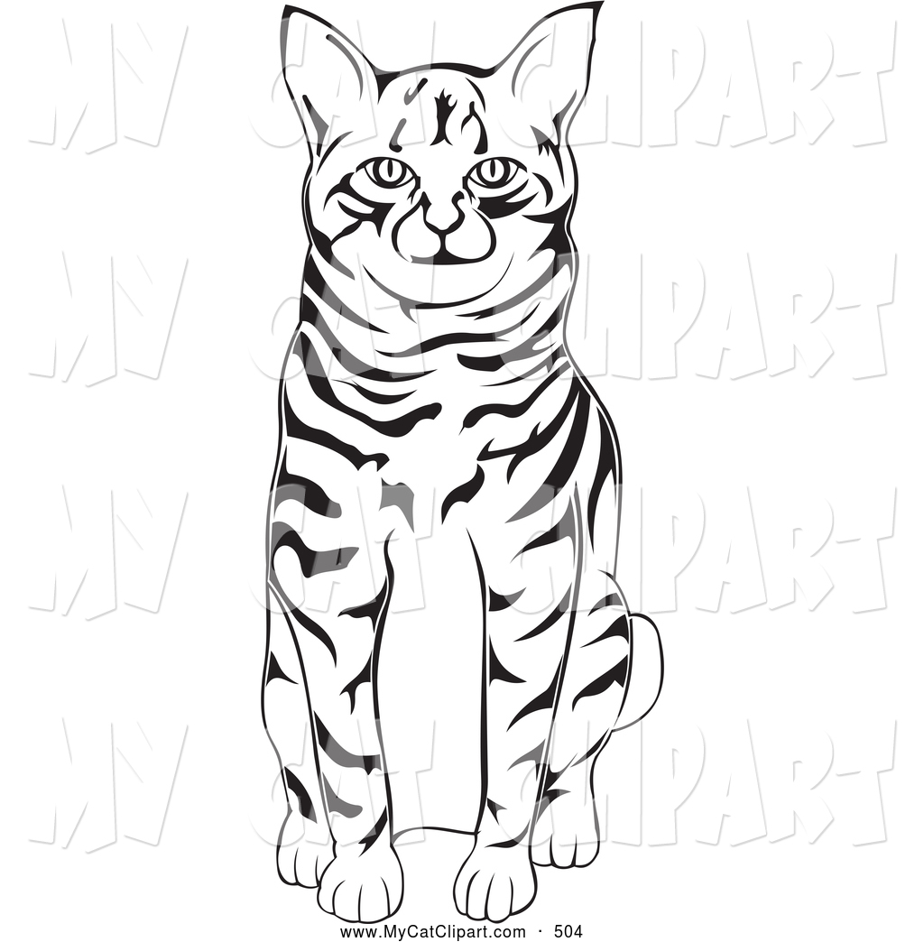 1024x1044 Clip Art Of A Cute Black And White American Bobtail Cat Sitting By