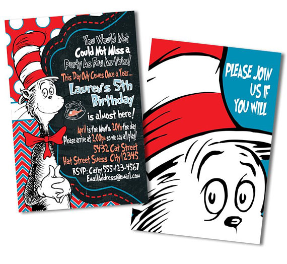 570x524 Cat In The Hat Invitation, Dr. Seuss Invitation, Cat In The Hat