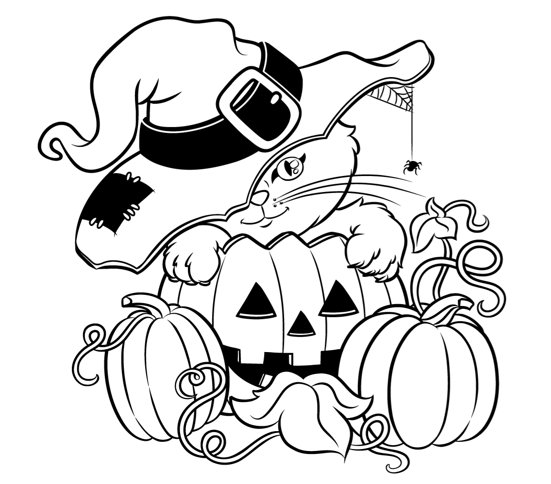 1135x998 Halloween Cat With A Hat Free Coloring Page O Animals