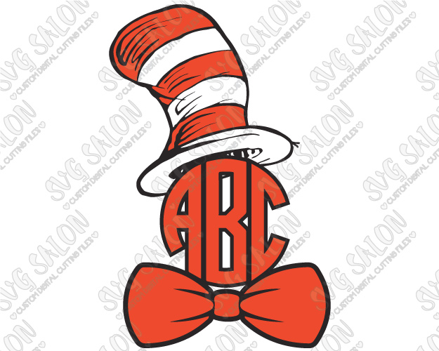 625x500 Dr. Seuss Cat In The Hat Bowtie Monogram Frame Cutting File In Svg