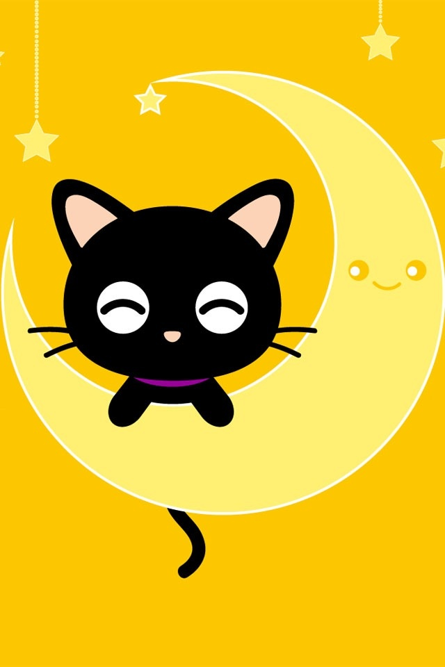 640x960 Cartoon Cat And Moon, Iphone Wallpaper Background Iphone