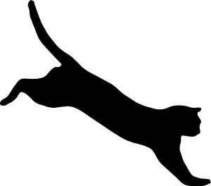 300x264 Cat Jumping Black Vinyl Cutout Sticker Car Window Computer Bumper