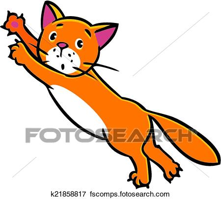 450x407 Clip Art Of Jumping Cat K21858817