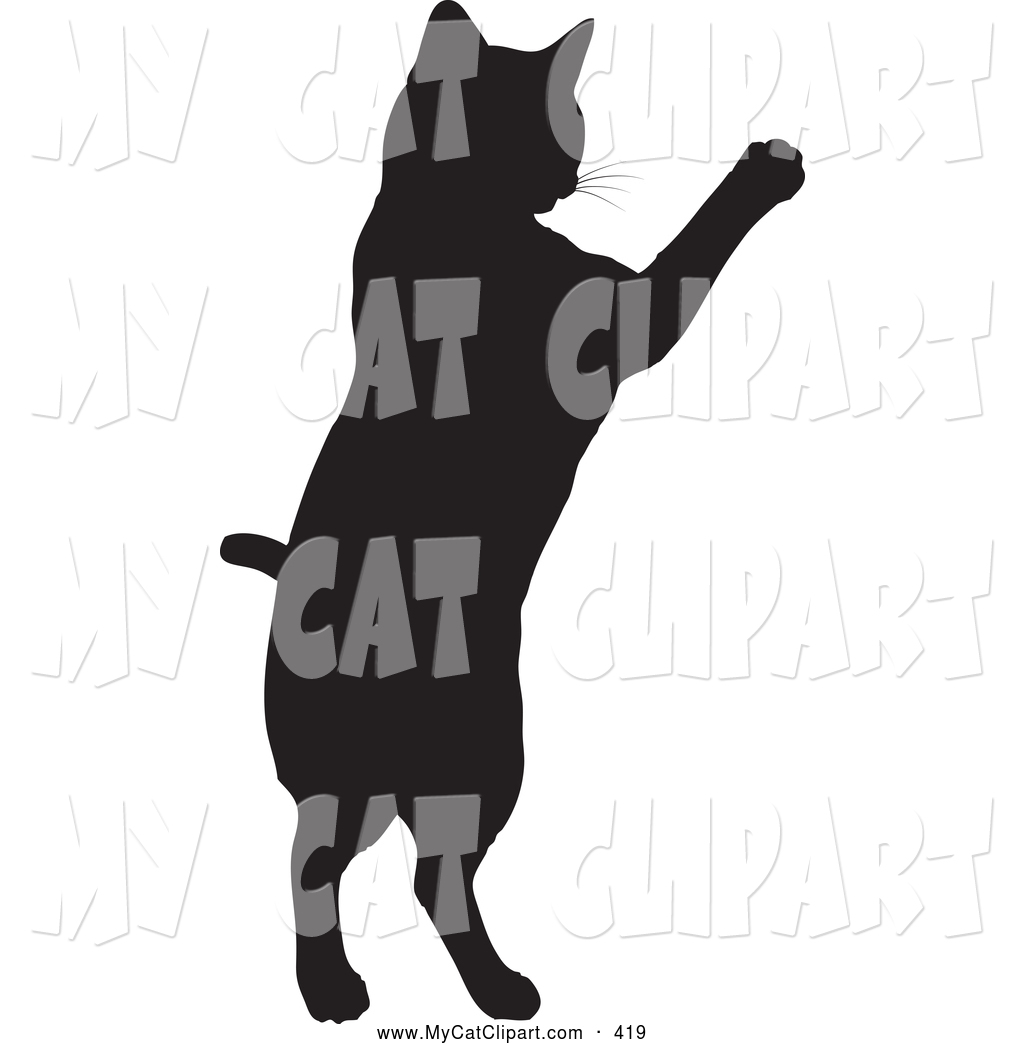 1024x1044 Clip Art Of A Black Silhouetted Feline Cat Jumping Up By Kj