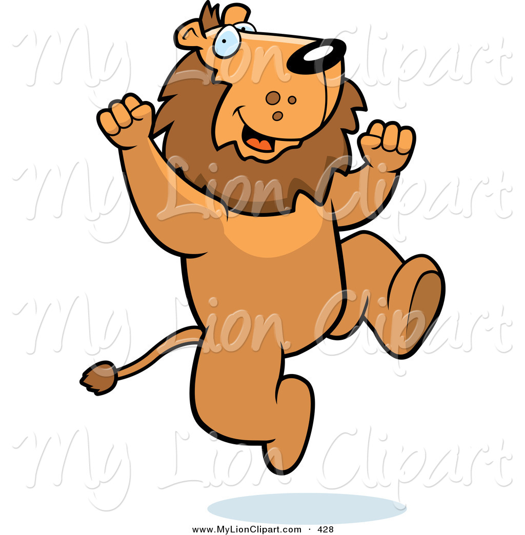 1024x1044 Clipart Of An Excited Lion Jumping Up And Down By Cory Thoman