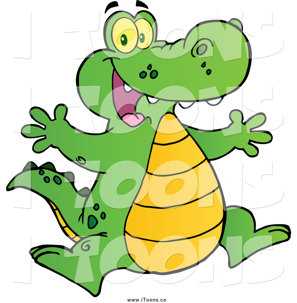 1024x1044 Vector Clip Art Of A Happy Alligator Jumping Up And Down By Hit