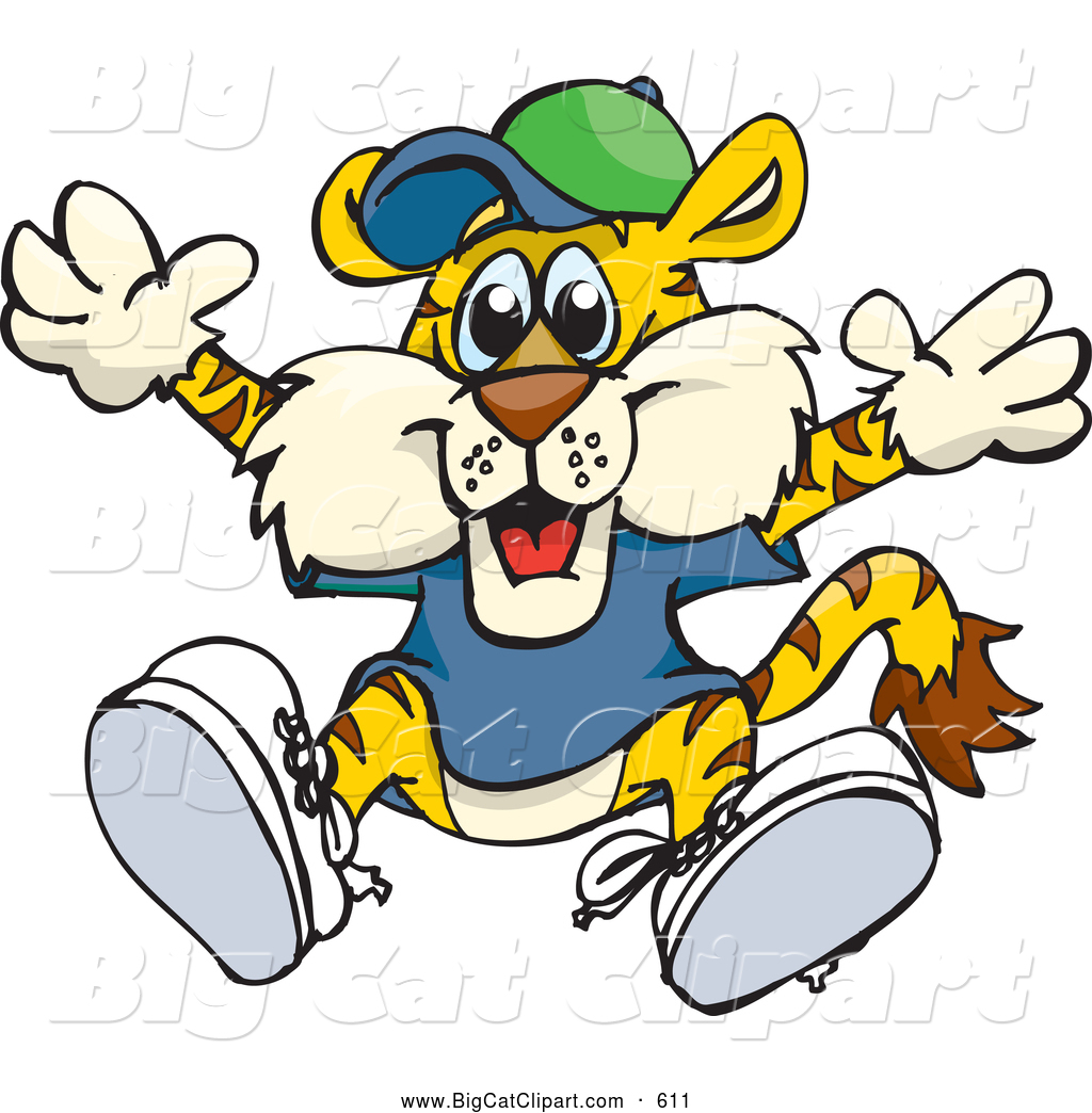 1024x1044 Big Cat Cartoon Vector Clipart Of A Smiling Happy Tiger In Clothes