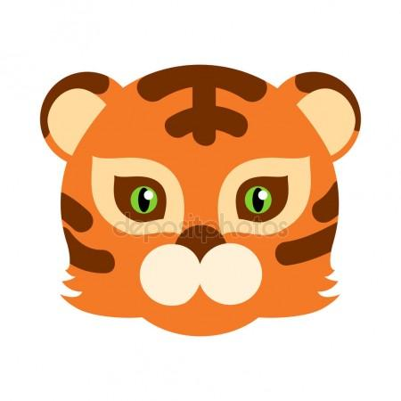 450x450 Tiger Cat Carnival Mask Striped Orange Brown Beast Stock Vector