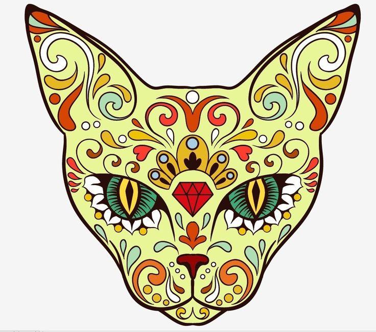 736x649 Best Sugar Skull Cat Ideas Sugar Skull Art, Cat