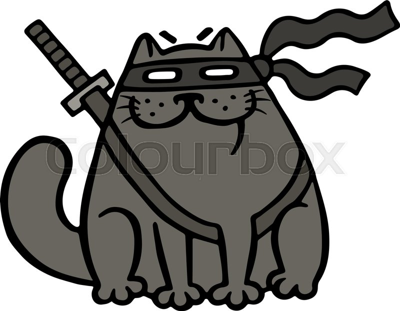 800x622 Cartoon Fat Ninja Cat In A Mask And A Sword. Funny Cool Warrior