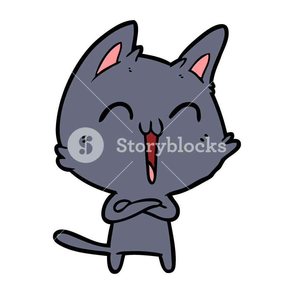 1000x1000 Happy Cartoon Cat Meowing Royalty Free Stock Image