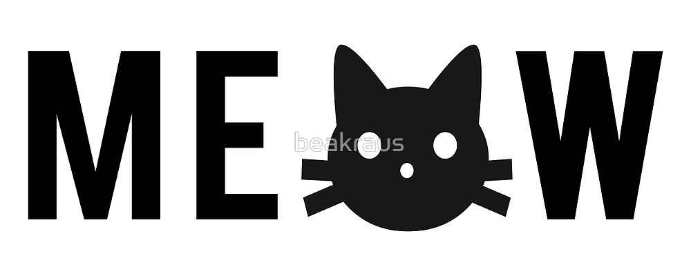 1000x400 Meow, Text Design, Word Art With Black Cat Head By Beakraus
