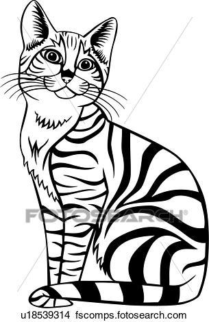305x470 Clipart Of , Animal, Cat, Tabby, Feline, U18539314