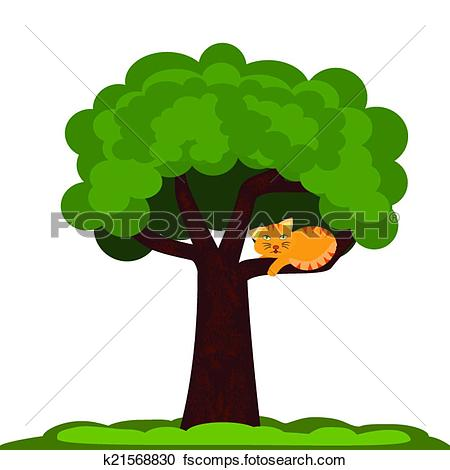 450x470 Cat In A Tree Clipart