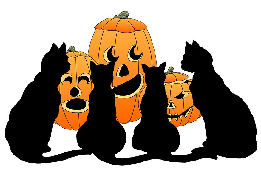 875x600 Halloween Cats Clipart
