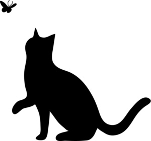 300x281 Clipart Illustration Of Silhouette Of Cat Playing