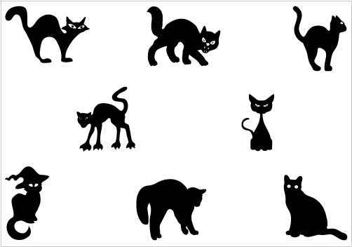 502x352 Halloween Cat Silhouette Clipart