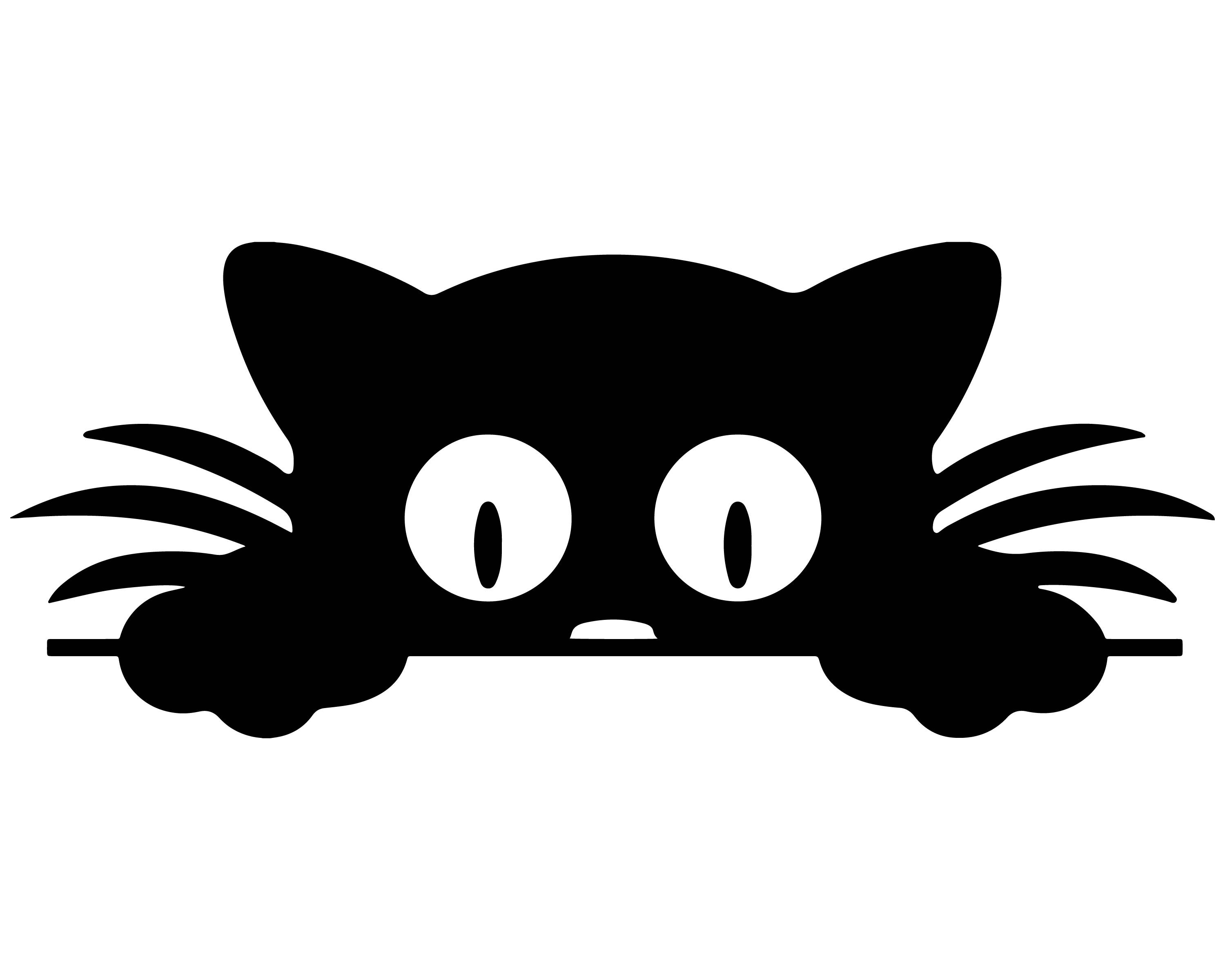 3000x2400 Peeking Cat Silhouette Clipart, Feline, Peeking Cat, Cat Image
