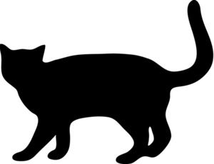 300x230 Scary Black Cat Silhouette Clip Art