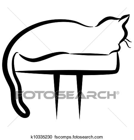 450x470 Clipart Of Abstract Elegant Cat Sitting On Perch K10335230