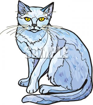 308x350 Picture Of A Cat Sitting Down In A Vector Clip Art Illustration